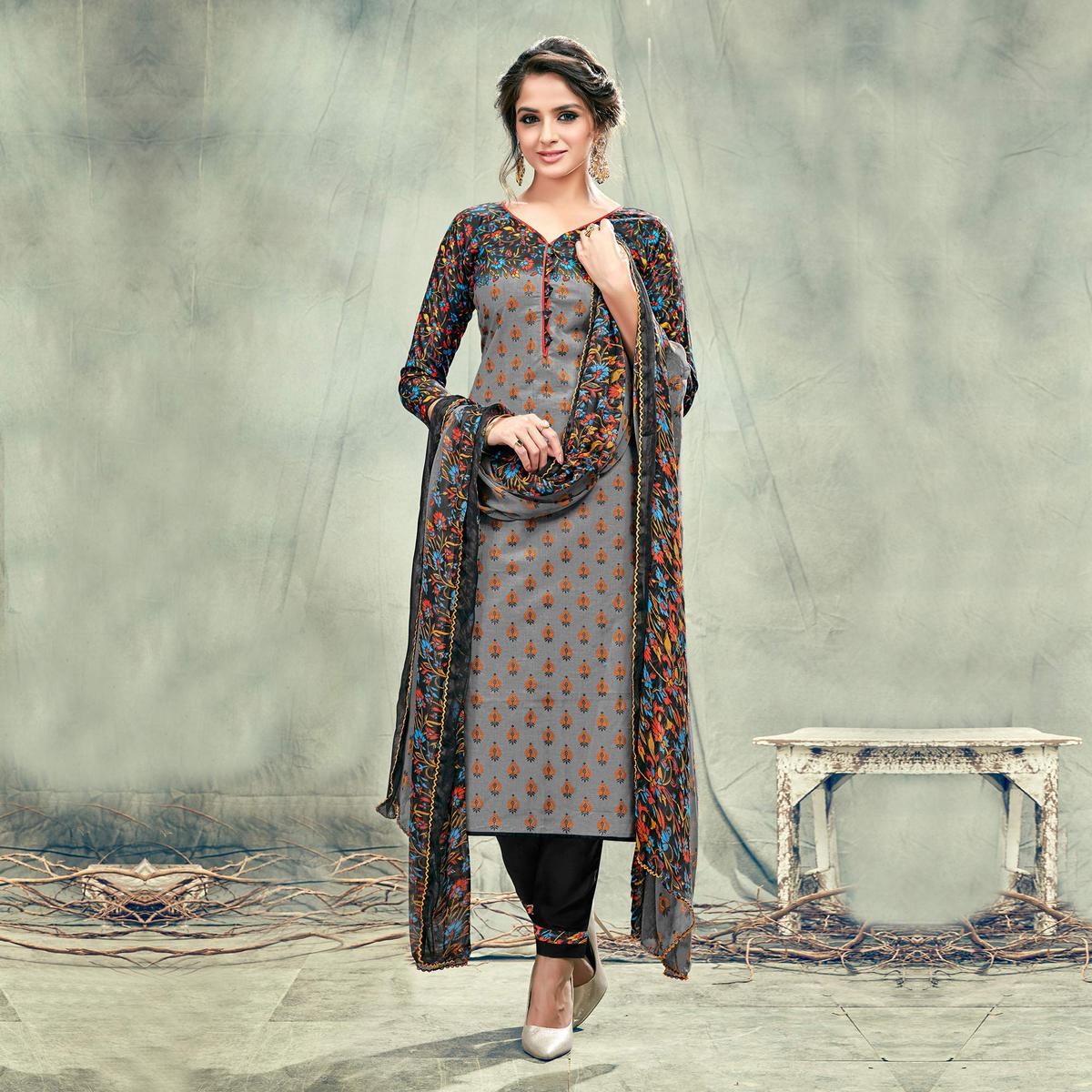 Gray Casual Printed Cotton Salwar Suit