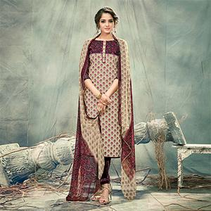 Beige Casual Printed Cotton Salwar Suit