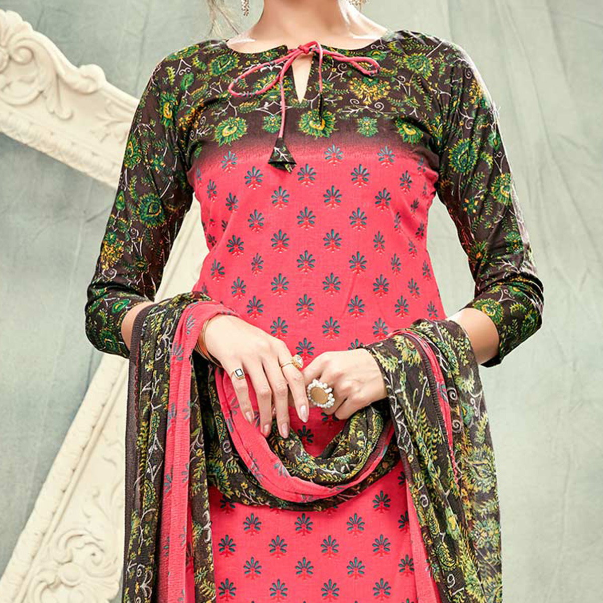 Peach Casual Printed Cotton Salwar Suit