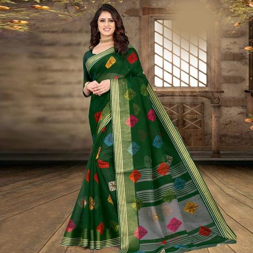Blooming Dark Green Colored Casual Wear Bandhej Printed Cotton Linen Saree