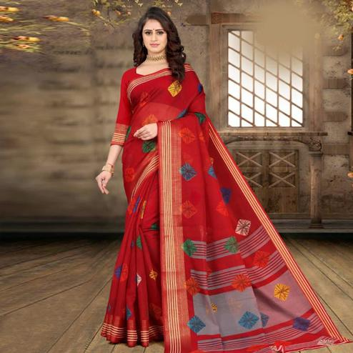 Charming Red Colored Casual Wear Bandhej Printed Cotton Linen Saree