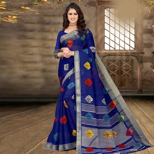 Jazzy Blue Colored Casual Wear Bandhej Printed Cotton Linen Saree