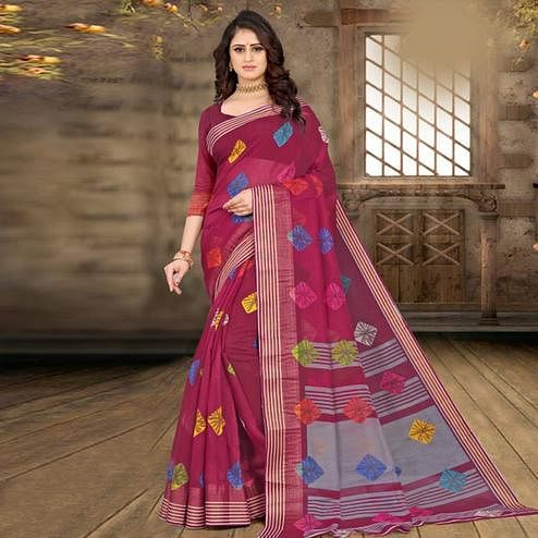 Delightful Purple Colored Casual Wear Bandhej Printed Cotton Linen Saree
