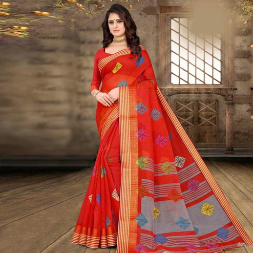 Engrossing Red Colored Casual Wear Bandhej Printed Cotton Linen Saree