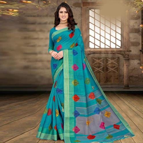 Captivating Turquoise Blue Colored Casual Wear Bandhej Printed Cotton Linen Saree