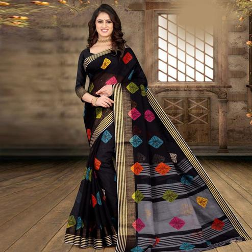 Innovative Black Colored Casual Wear Bandhej Printed Cotton Linen Saree