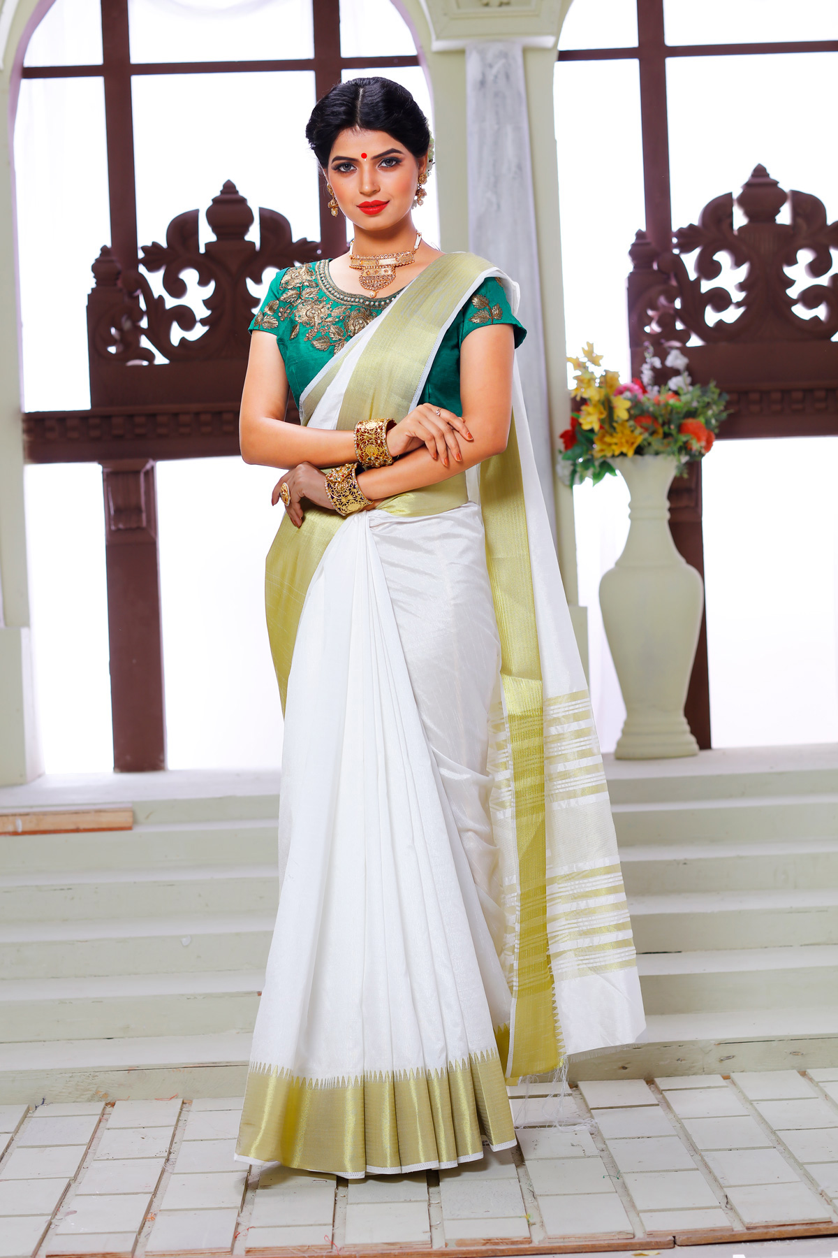 White Weaving Work Silk Saree with Embroidered Blouse