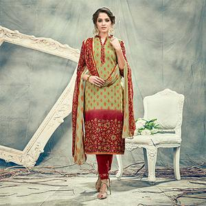 Green-Maroon Casual Printed Cotton Salwar Suit