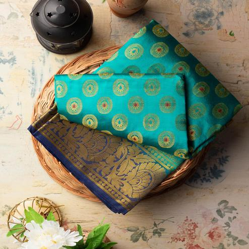 Majesty Rama Colored Festive Wear Woven Art Silk Saree
