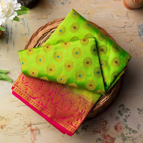 Impressive Green Colored Festive Wear Woven Art Silk Saree