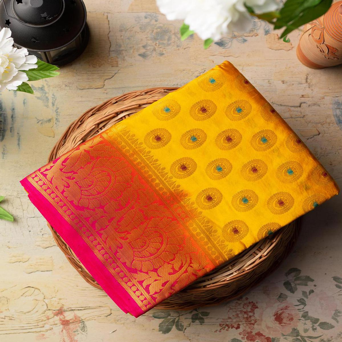 Mesmerising Yellow Colored Festive Wear Woven Art Silk Saree