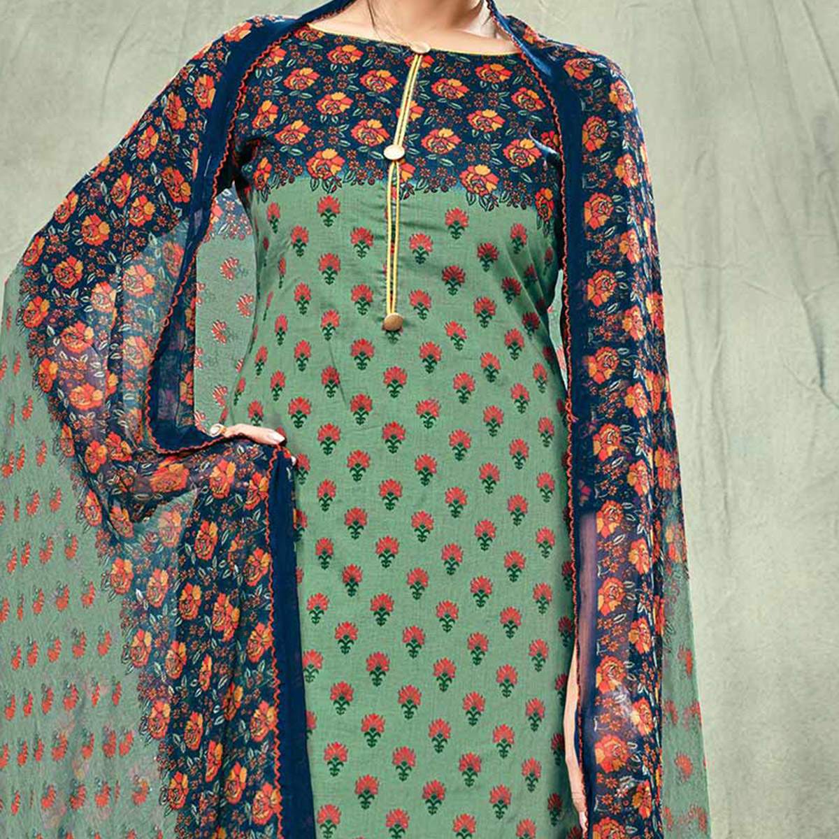 Green-Blue Casual Printed Cotton Salwar Suit