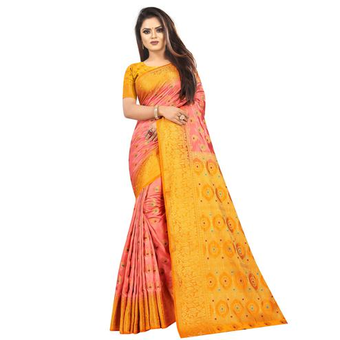 Surpassing Peach Colored Festive Wear Woven Art Silk Saree