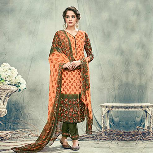 Orange-Green Casual Printed Cotton Salwar Suit