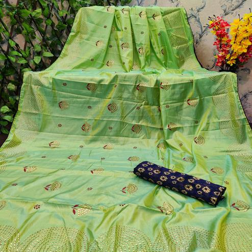 Radiant Parrot Green Colored Festive Wear Embellished Paper Silk Saree