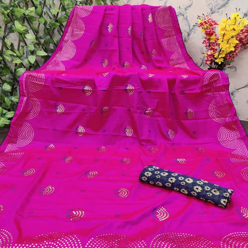 Pleasant Pink Colored Festive Wear Embellished Paper Silk Saree