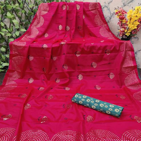 Opulent Red Colored Festive Wear Embellished Paper Silk Saree