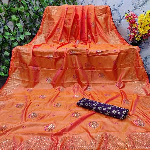 Energetic Orange Colored Festive Wear Embellished Paper Silk Saree