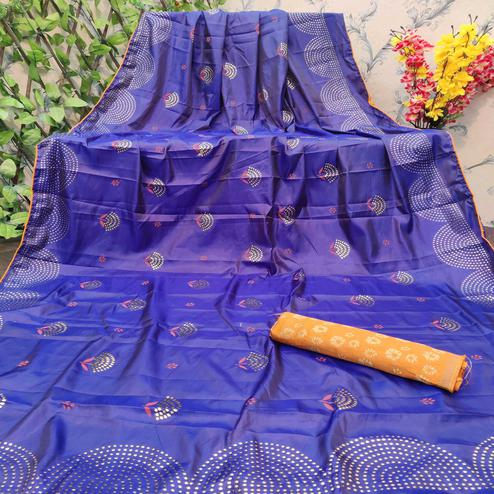 Glowing Royal Blue Colored Festive Wear Embellished Paper Silk Saree