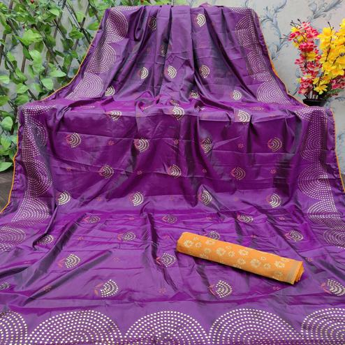 Exceptional Wine Colored Festive Wear Embellished Paper Silk Saree