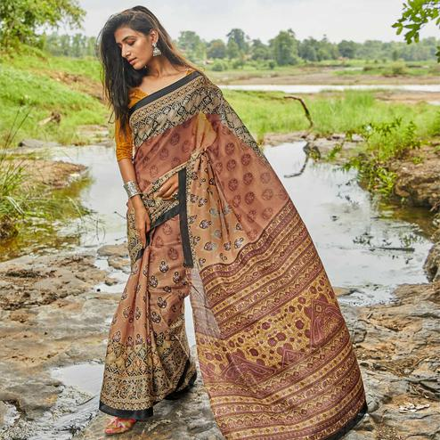 Arresting Light Brown Colored Casual Wear Digital Printed Satin Silk Saree