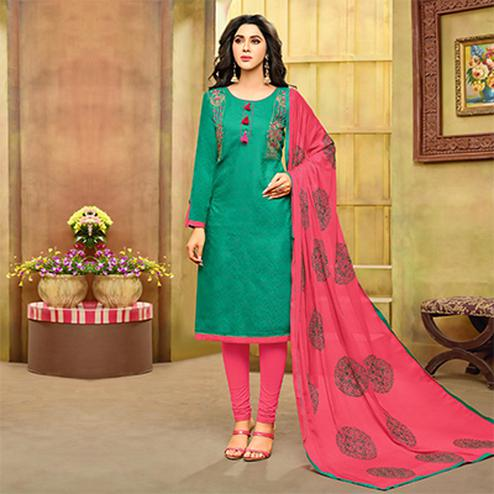 Stunning Green-Pink Embroidered Cotton Jacquard Dress Material