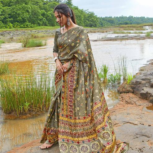 Elegant Olive Green Colored Casual Wear Digital Printed Satin Silk Saree