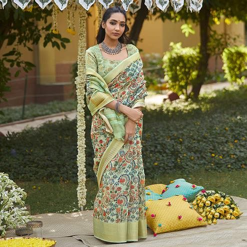 Adorable Green Colored Party Wear Digital Printed Linen Saree