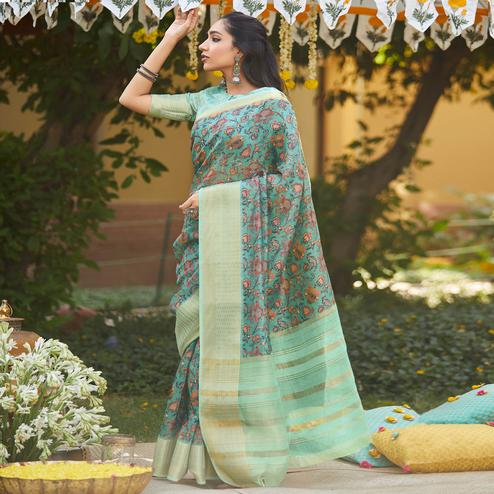 Attractive Blue Colored Party Wear Digital Printed Linen Saree