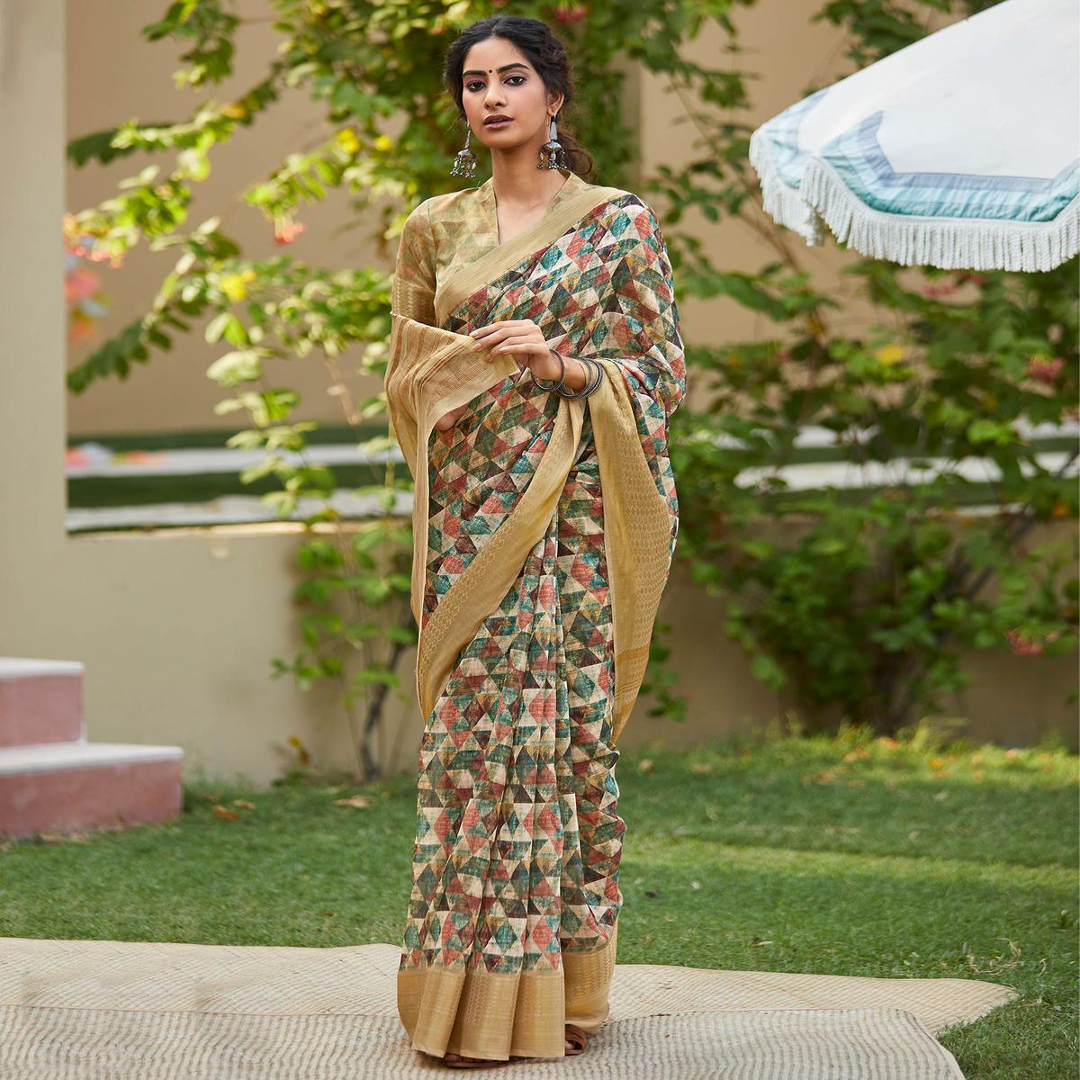 Beautiful Multi Colored Party Wear Digital Printed Linen Saree