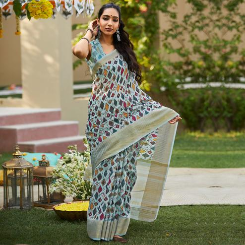 Graceful Blue Colored Party Wear Digital Printed Linen Saree