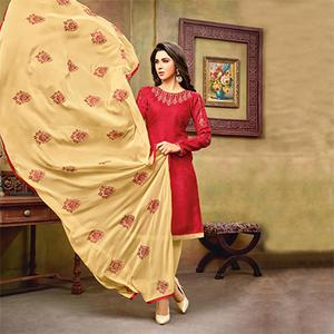 Dazzling Red-Beige Embroidered Cotton Jacquard Dress Material