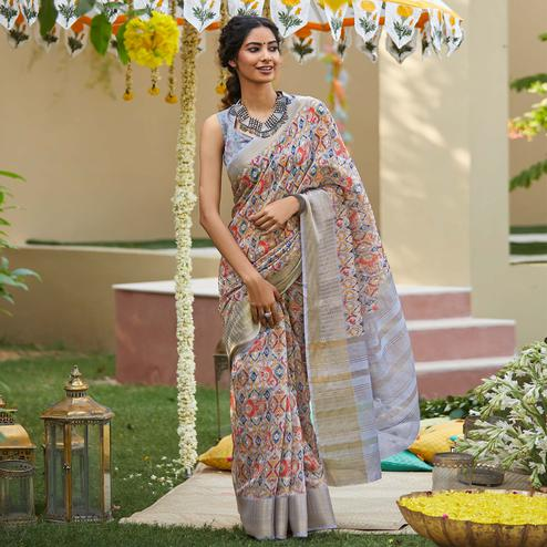 Blooming Light Purple Colored Party Wear Digital Printed Linen Saree