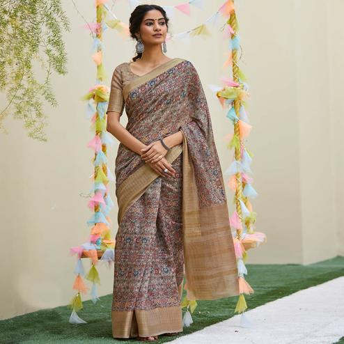 Charming Brown Colored Party Wear Digital Printed Linen Saree