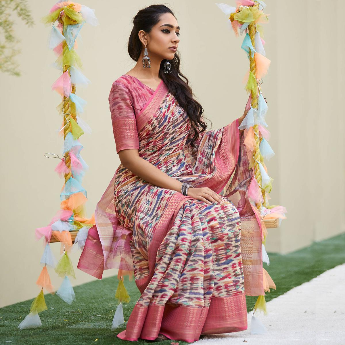 Jazzy Pink Colored Party Wear Digital Printed Linen Saree