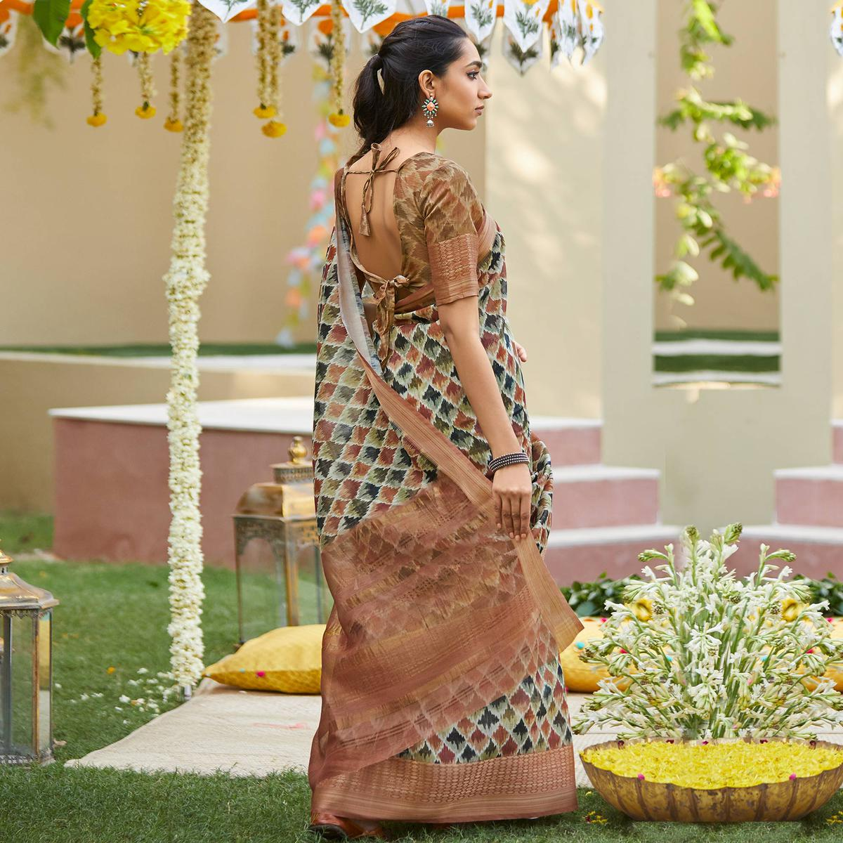 Delightful Multi Colored Party Wear Digital Printed Linen Saree