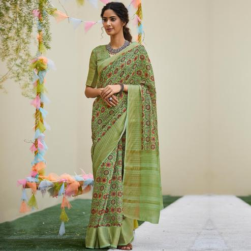 Engrossing Green Colored Party Wear Digital Printed Linen Saree