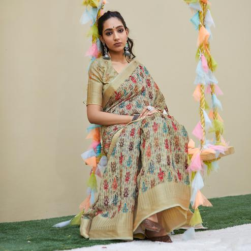 Captivating Beige Colored Party Wear Digital Printed Linen Saree
