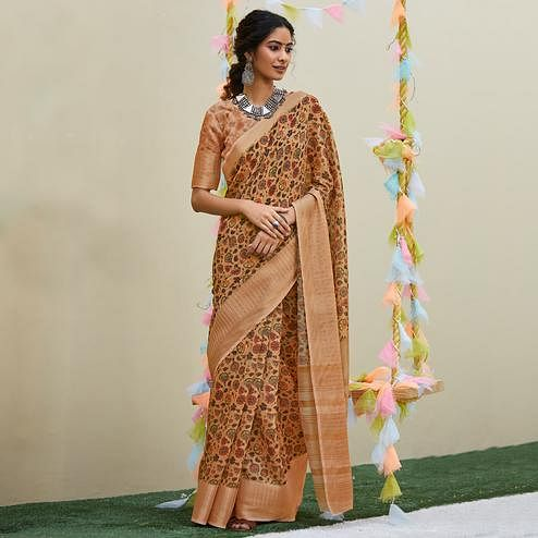 Innovative Peach Colored Party Wear Digital Printed Linen Saree