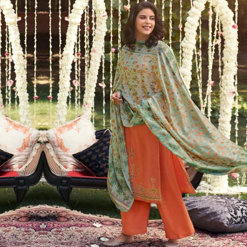 Stylee Lifestyle - Orange Colored Party Wear Embroidered Pashmina Dress Material