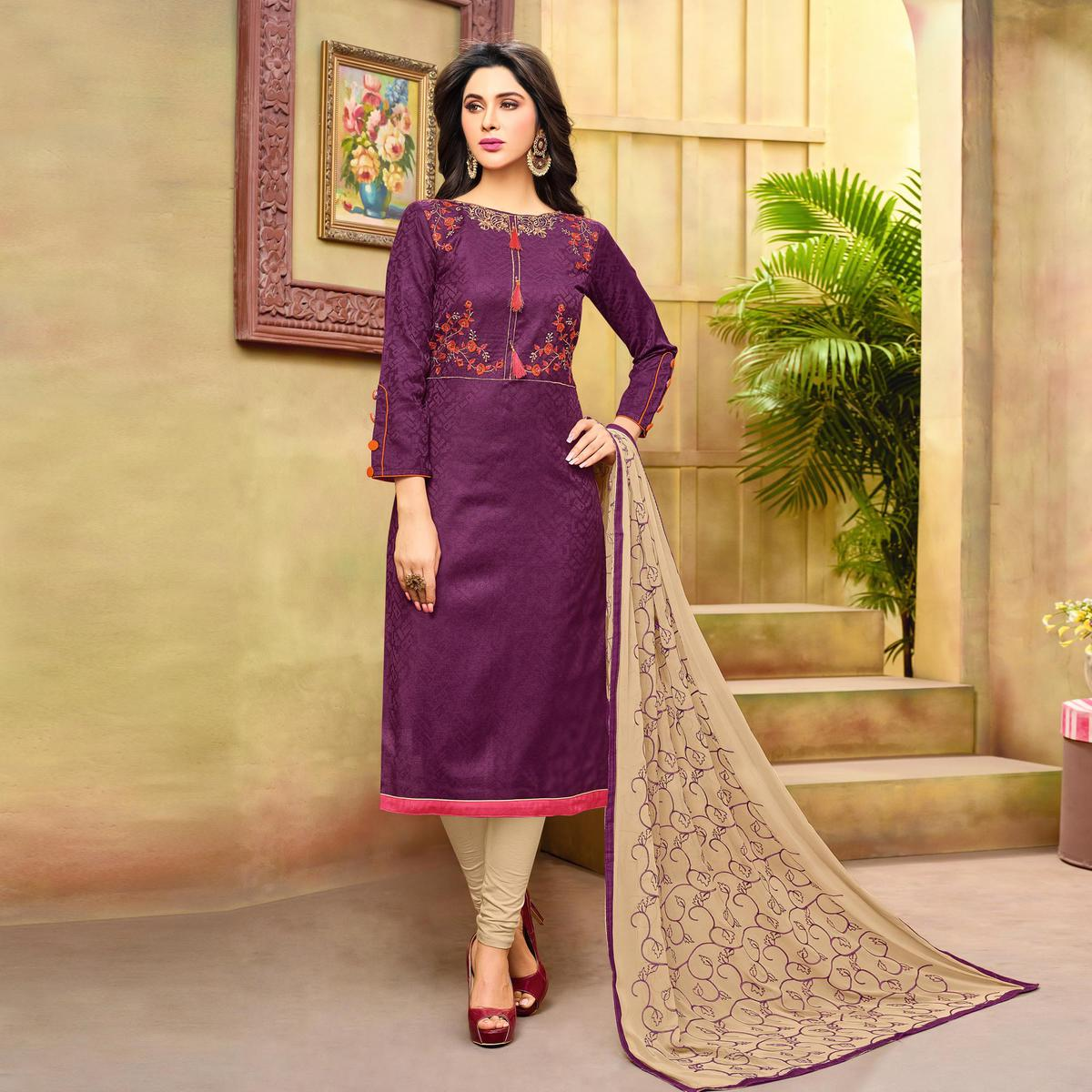 Adorable Purple Embroidered Cotton Jacquard Dress Material
