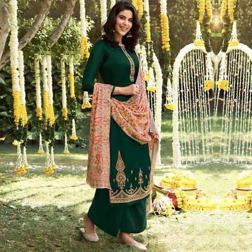 Stylee Lifestyle - Green Colored Party Wear Embroidered Pashmina Dress Material