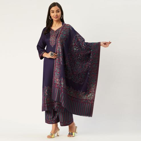 Safaa - Navy Blue Colored Viscose Acrylic Wool Woven Suit With Heavy Kani Zari Dupatta (UnStiched) For Winter