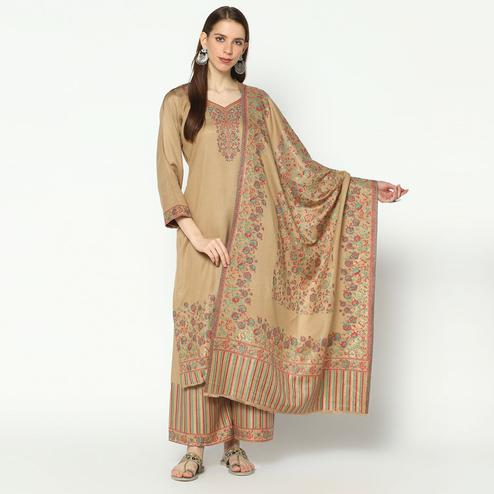 Safaa - Camel Colored Viscose Acrylic Wool Woven Suit With Heavy Kani Zari Dupatta (UnStiched) For Winter