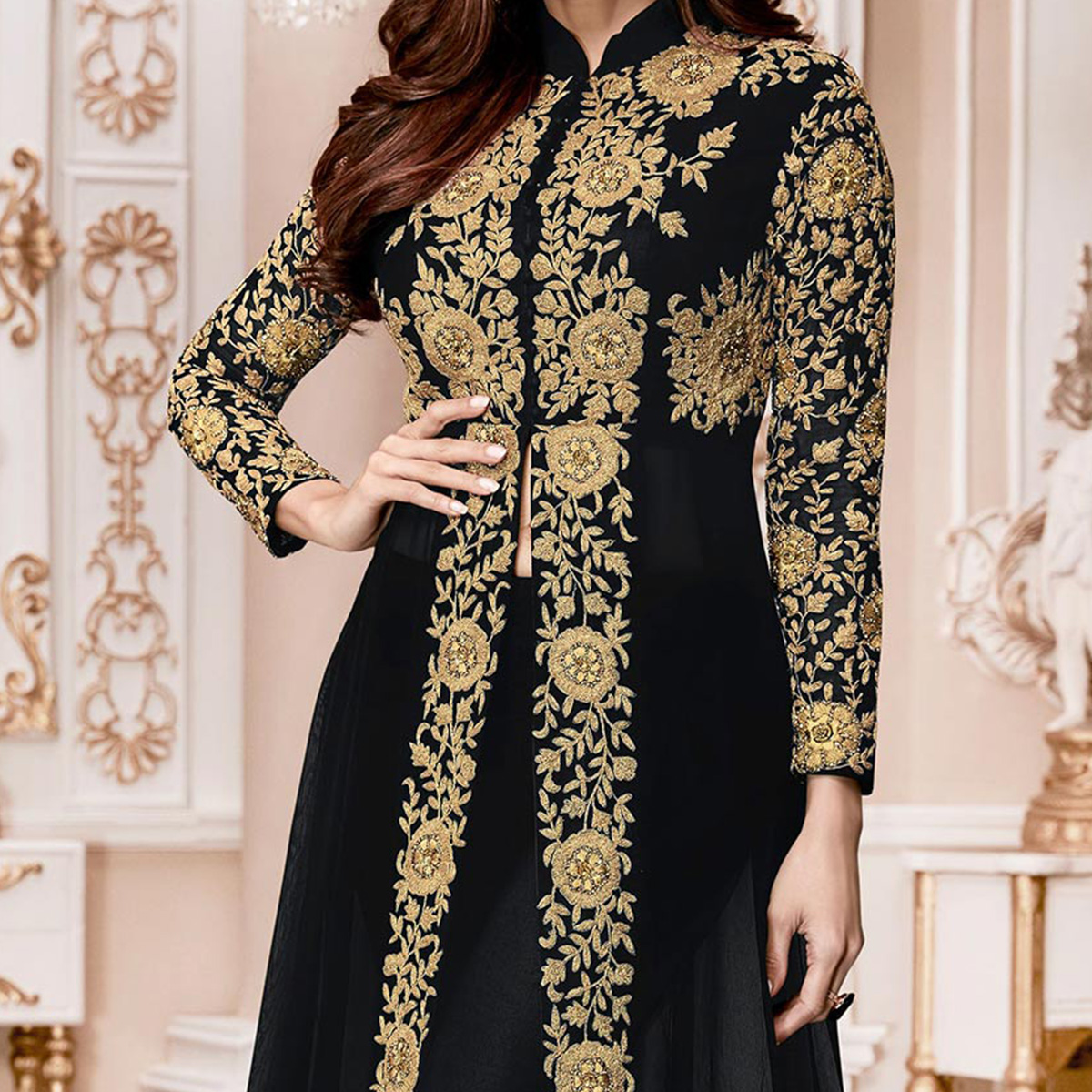 Mesmerising Black Colored Designer Embroidered Georgette Anarkali Suit