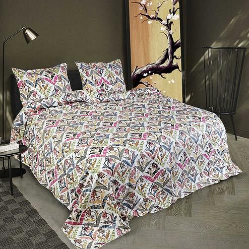 Bhagats - Multicolor 98*105 Cotton Printed Double Bedsheet with 2 Pillow Cover