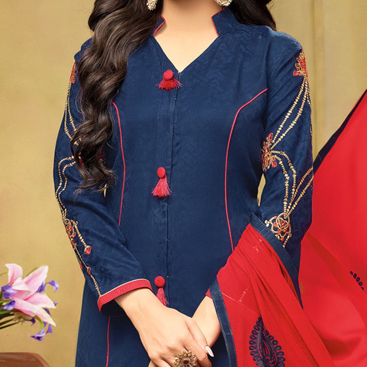 Ravishing Navy Blue-Red Embroidered Cotton Jacquard Dress Material