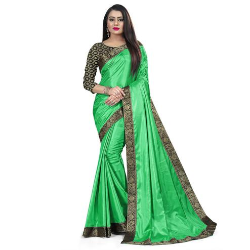 Baarbij - Parrot Green Colored Casual Solid Poly Matki Paper Silk Saree