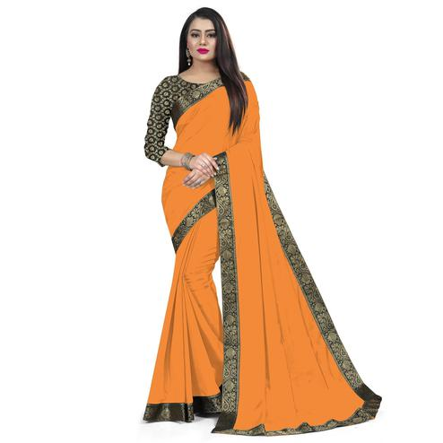 Baarbij - Orange Colored Casual Solid Poly Matki Paper Silk Saree