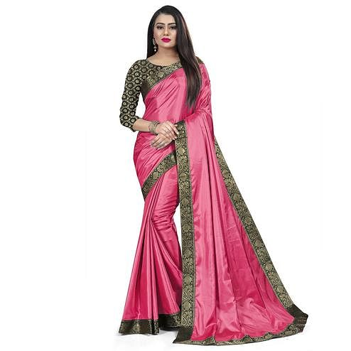 Baarbij - Pink Colored Casual Solid Poly Matki Paper Silk Saree